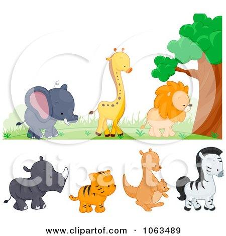 Clipart Wild Animal Borders Digital Collage - Royalty Free Vector Illustration by BNP Design Studio