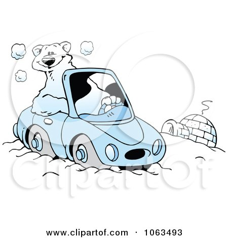 Clipart Polar Bear Driving By An Igloo - Royalty Free Vector Illustration by Johnny Sajem