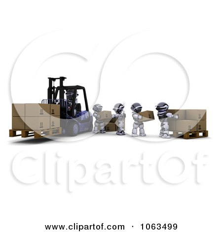 Clipart 3d Warehouse Robots Loading Boxes - Royalty Free CGI Illustration by KJ Pargeter