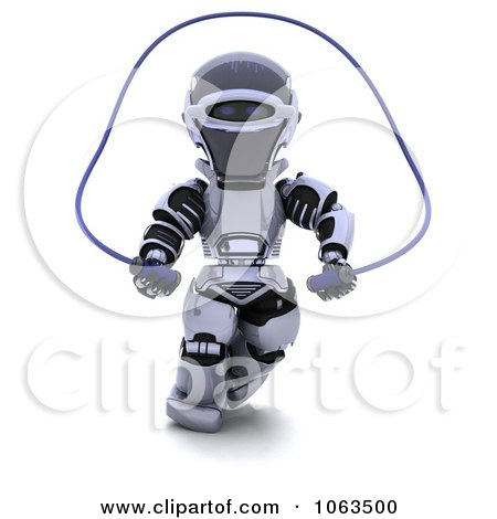 Clipart 3d Robot Jumping Rope - Royalty Free CGI Illustration by KJ Pargeter
