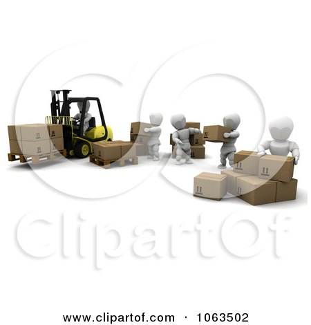 Clipart 3d White Character Warehouse Team - Royalty Free CGI Illustration by KJ Pargeter
