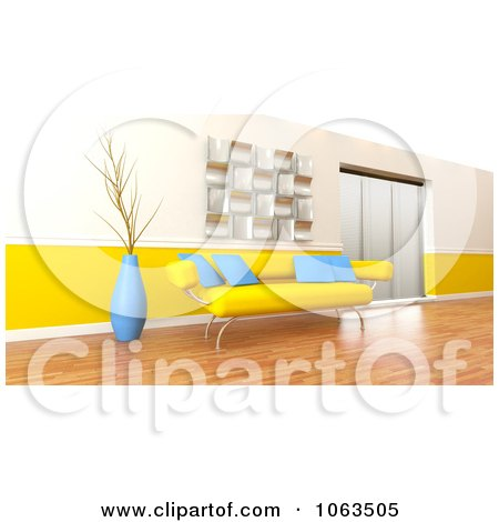 Clipart 3d Yellow Sofa In A Modern Interior - Royalty Free CGI Illustration by KJ Pargeter