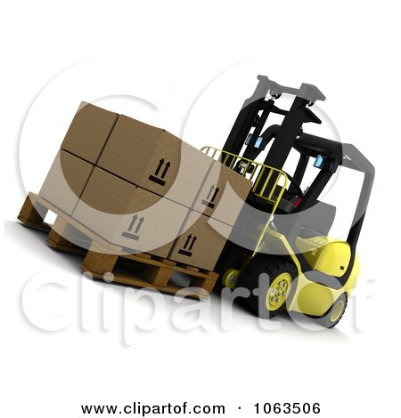 Clipart 3d Forklift And Boxes - Royalty Free CGI Illustration by KJ Pargeter