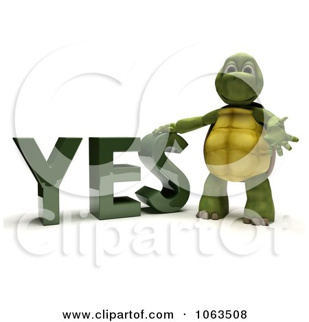 Clipart 3d Tortoise Standing By YES - Royalty Free CGI Illustration by KJ Pargeter
