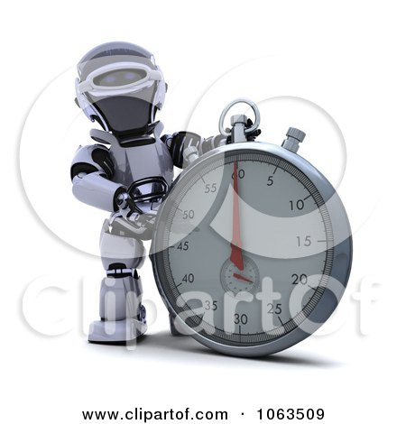 Clipart 3d Robot By A Stopwatch - Royalty Free CGI Illustration by KJ Pargeter