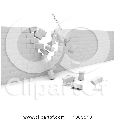 Clipart 3d Ball Demolishing A Wall - Royalty Free CGI Illustration by KJ Pargeter