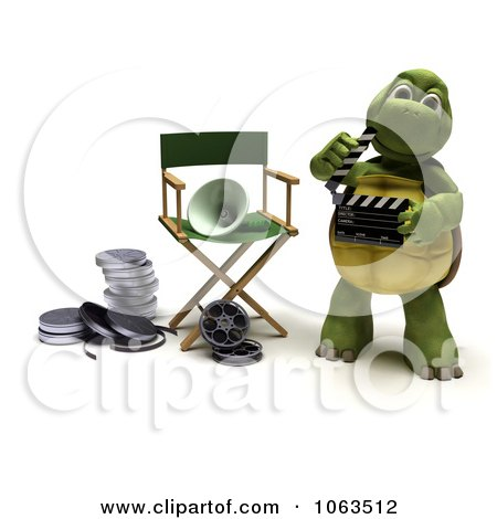 Clipart 3d Tortoise Using A Clapper Board - Royalty Free CGI Illustration by KJ Pargeter