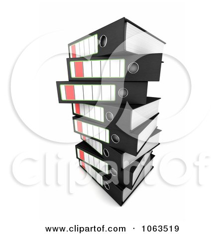 Clipart 3d Stacked Archival Ring Binders 2 - Royalty Free CGI Illustration by stockillustrations