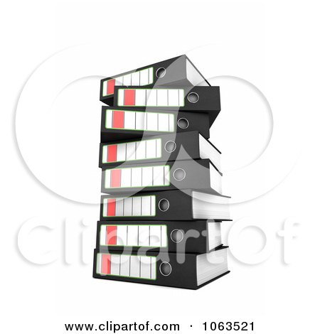 Clipart 3d Stacked Archival Ring Binders 1 - Royalty Free CGI Illustration by stockillustrations