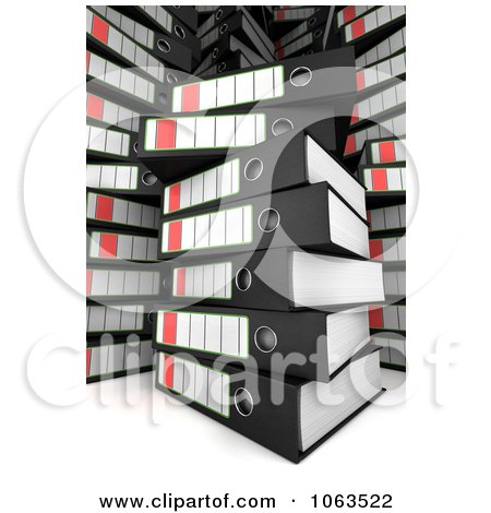 Clipart 3d Messy Stacks Of Archival Ring Binders - Royalty Free CGI Illustration by stockillustrations