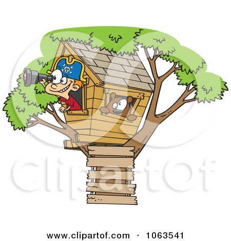 Clipart Caucasian Pirate Boy In His Tree House Royalty Free Vector Illustration