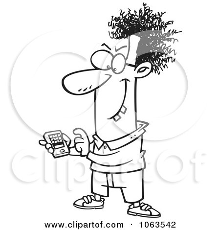 Clipart Devious Nerd With A Gadget Black And White Outline 1 - Royalty Free Vector Illustration by toonaday