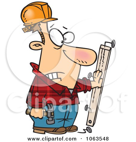 Clipart Carpenter Nailing His Hand To A Board - Royalty Free Vector Illustration by toonaday
