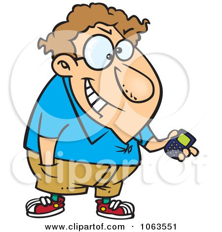 Clipart Devious Nerd With A Gadget 2 - Royalty Free Vector Illustration by toonaday