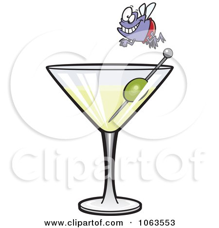 Clipart Fly Diver Over A Martini - Royalty Free Vector Illustration by toonaday