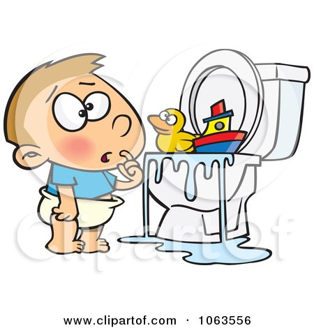 Clipart Boy With Toys In The Toilet - Royalty Free Vector Illustration by toonaday