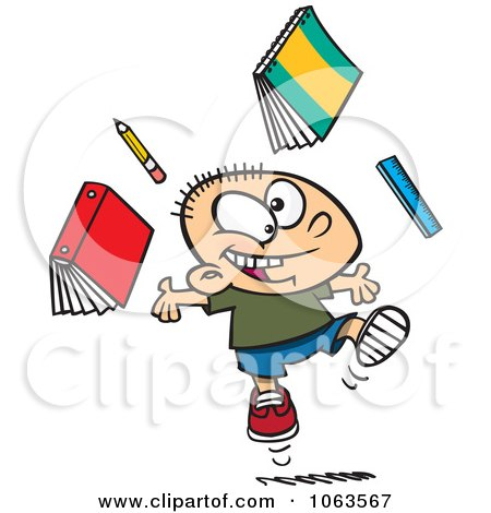 Clipart Happy Caucasian School Boy Ready For Vacation - Royalty Free Vector Illustration by toonaday