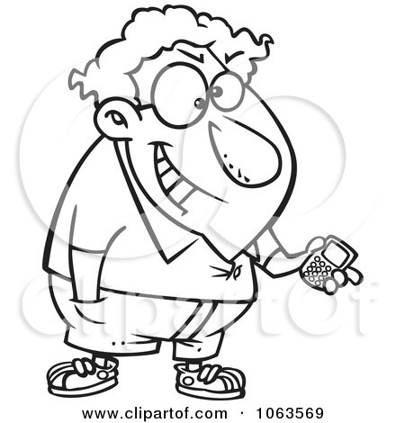 Clipart Devious Nerd With A Gadget Black And White Outline 2 - Royalty Free Vector Illustration by toonaday