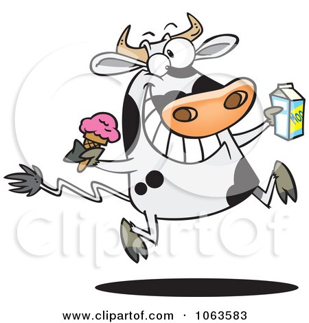 Clipart Dairy Cow With Ice Cream And Milk - Royalty Free Vector Illustration by toonaday