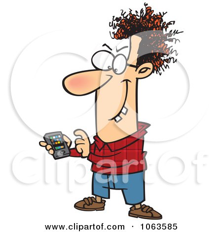 Clipart Devious Nerd With A Gadget 1 - Royalty Free Vector Illustration by toonaday