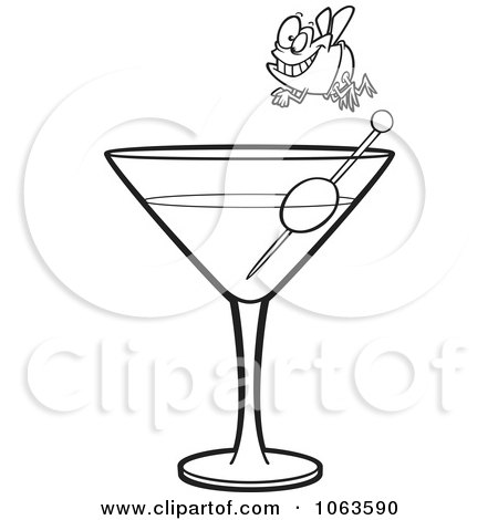 Clipart Fly Diver Over A Martini Black And White Outline - Royalty Free Vector Illustration by toonaday