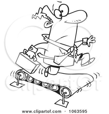 Clipart Businessman Running On A Treadmill Black And White Outline - Royalty Free Vector Illustration by toonaday