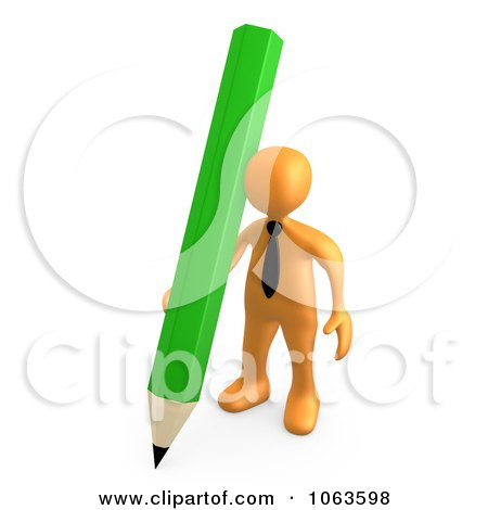 Clipart 3d Orange Businessman With A Pencil - Royalty Free CGI Illustration by 3poD