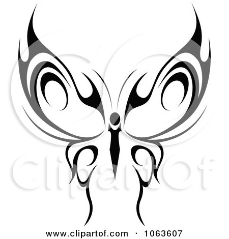 Clipart Black Tribal Butterfly 2 - Royalty Free Vector ...