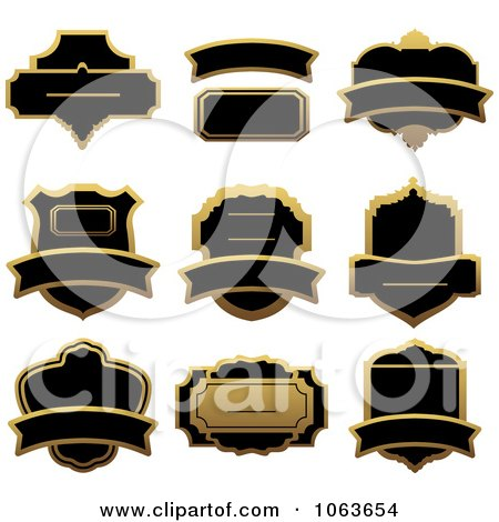 Clipart Blank Gold And Black Labels Digital Collage 5 - Royalty Free Vector Illustration by Vector Tradition SM