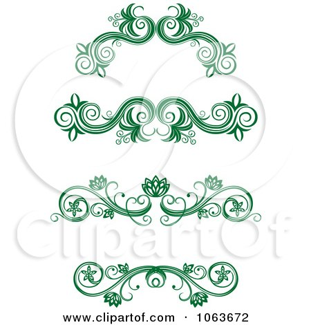 Clipart Green Flourish Borders Digital Collage 12 - Royalty Free Vector Illustration by Vector Tradition SM