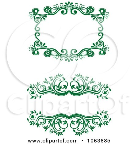 Clipart Green Flourish Borders Digital Collage 11 - Royalty Free Vector Illustration by Vector Tradition SM