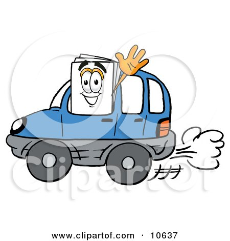Clipart Picture of a Paper Mascot Cartoon Character Driving a Blue Car and Waving by Toons4Biz
