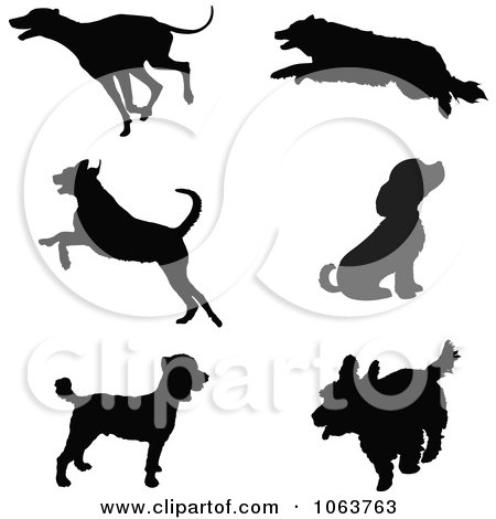 Clipart Silhouetted Dogs - Royalty Free Vector Illustration by Maria Bell