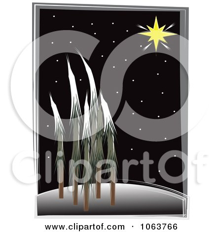 Clipart The North Star Over A Forest At Night - Royalty Free Vector Illustration by mheld
