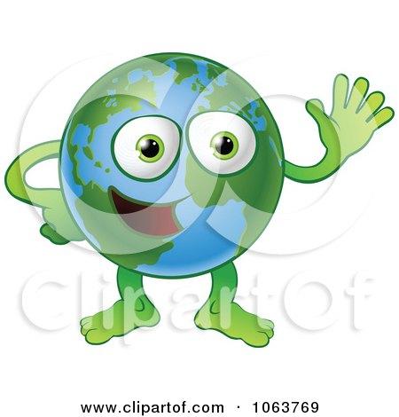 Clipart Happy Globe Waving - Royalty Free Vector Illustration by AtStockIllustration