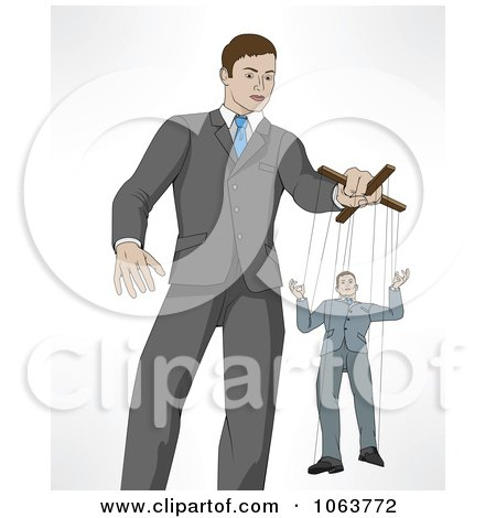 Clipart Boss Controlling An Employee On Puppet Strings - Royalty Free Vector Illustration by AtStockIllustration