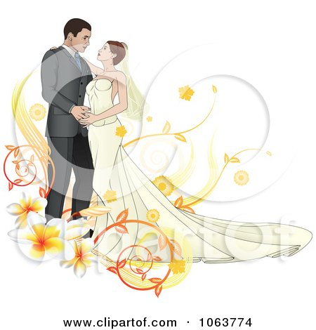 Clipart Bride And Groom Dancing With Plumerias - Royalty Free Vector Illustration by AtStockIllustration