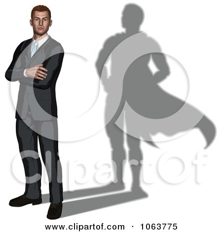 Clipart 3d Businessman With A Super Hero Shadow - Royalty Free Vector Illustration by AtStockIllustration