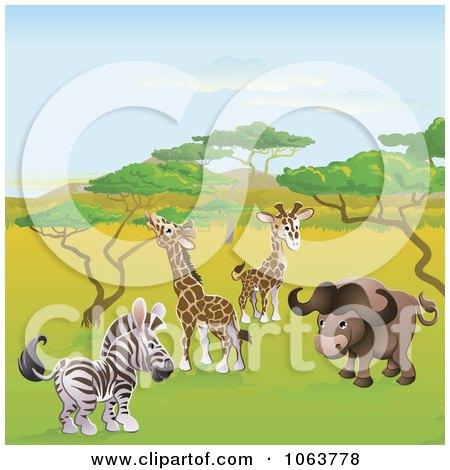 Clipart Safari Animals On The Plains - Royalty Free Vector Illustration by AtStockIllustration