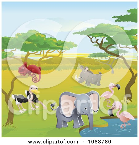Safari Animals At A Watering Holeation Posters, Art Prints