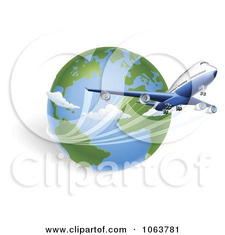 Clipart 3d International Flight And Globe - Royalty Free Vector Illustration by AtStockIllustration