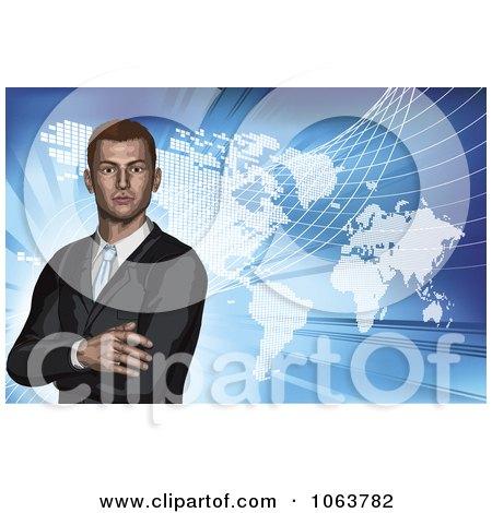 Clipart 3d Businessman And World Atlas On Blue - Royalty Free Vector Illustration by AtStockIllustration