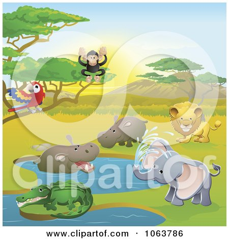 Safari Animals In A Watering Holeation Posters, Art Prints