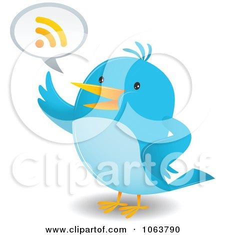 Clipart Blue Bird Talking RSS - Royalty Free Vector Illustration by Qiun