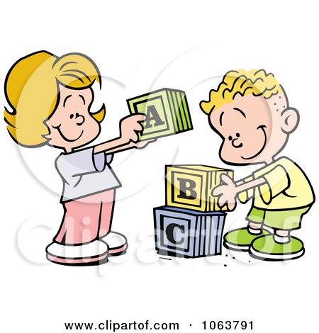 Clipart Children Stacking Letter Blocks - Royalty Free Vector Illustration by Johnny Sajem
