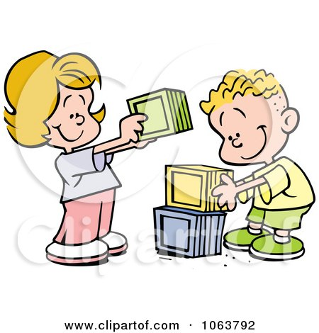 Clipart Children Stacking Blocks - Royalty Free Vector Illustration by Johnny Sajem
