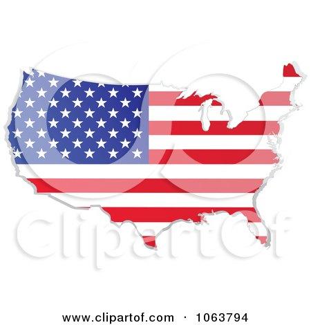 Clipart American Flag Map - Royalty Free Vector Illustration by yayayoyo