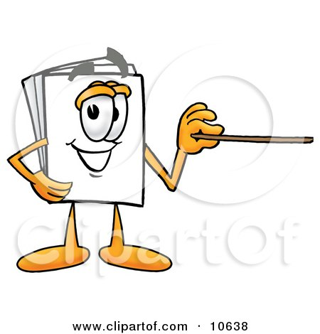 Clipart Picture of a Paper Mascot Cartoon Character Holding a Pointer Stick by Toons4Biz