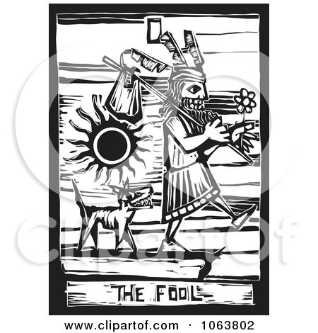 Clipart Woodcut Styled Dog Following The Fool - Royalty Free Vector Illustration by xunantunich