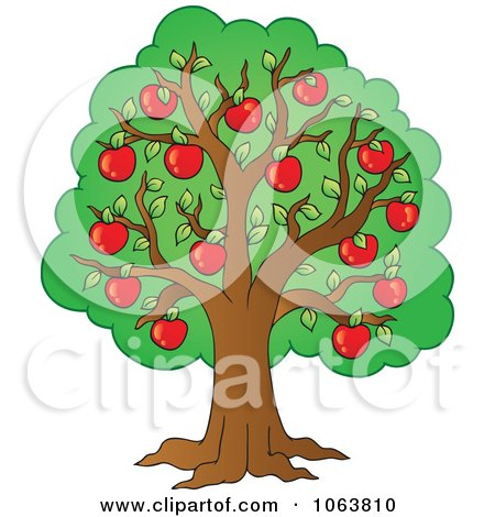 Clipart Red Apple Tree - Royalty Free Vector Illustration by visekart